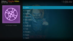 Chucky Video Kodi Addon Main Menu