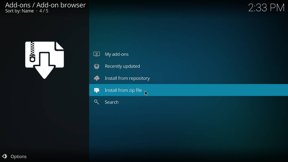 How to install a Kodi repository - Step 3
