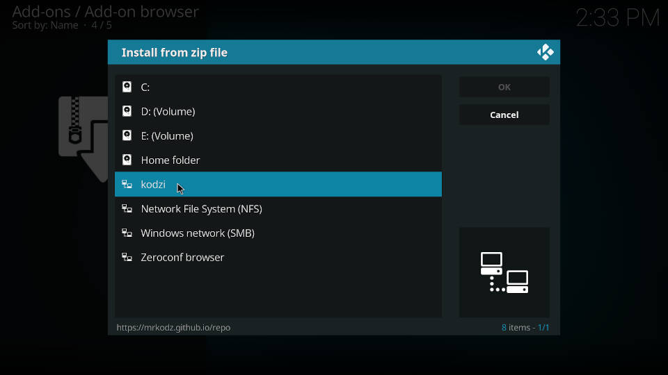 How to install a Kodi repository - Step 4