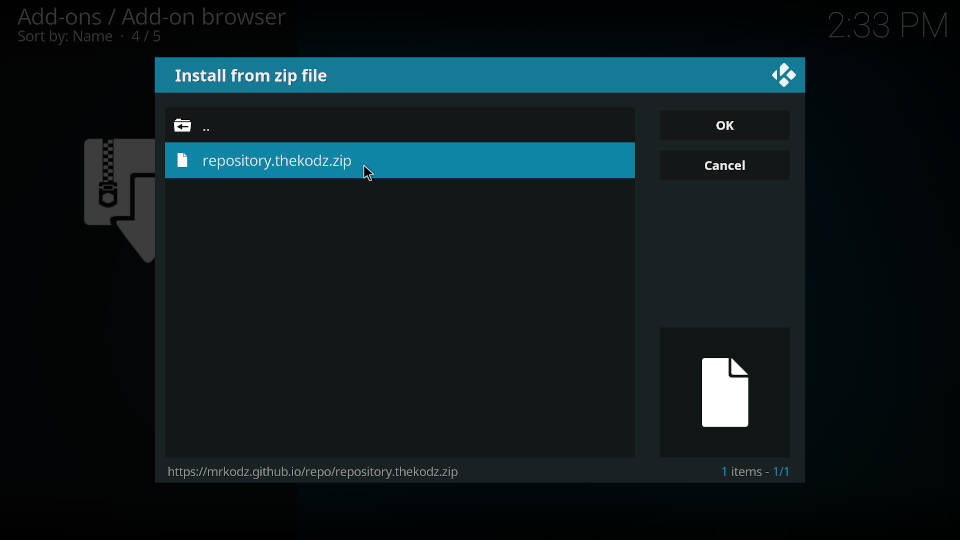 How to install a Kodi repository - Step 5
