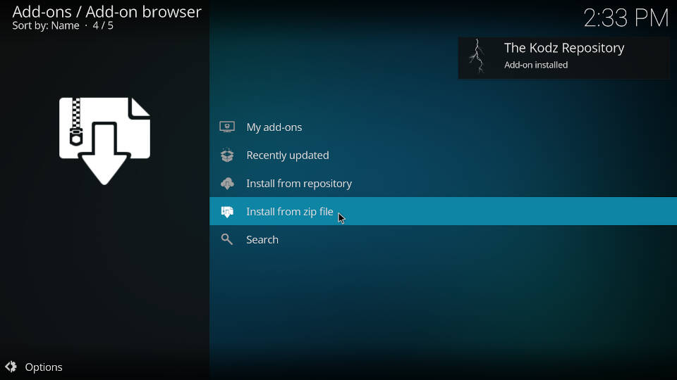 How to install a Kodi repository - Step 6