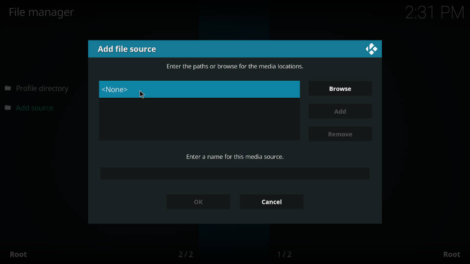 How to add a source in Kodi file manager - Step 4