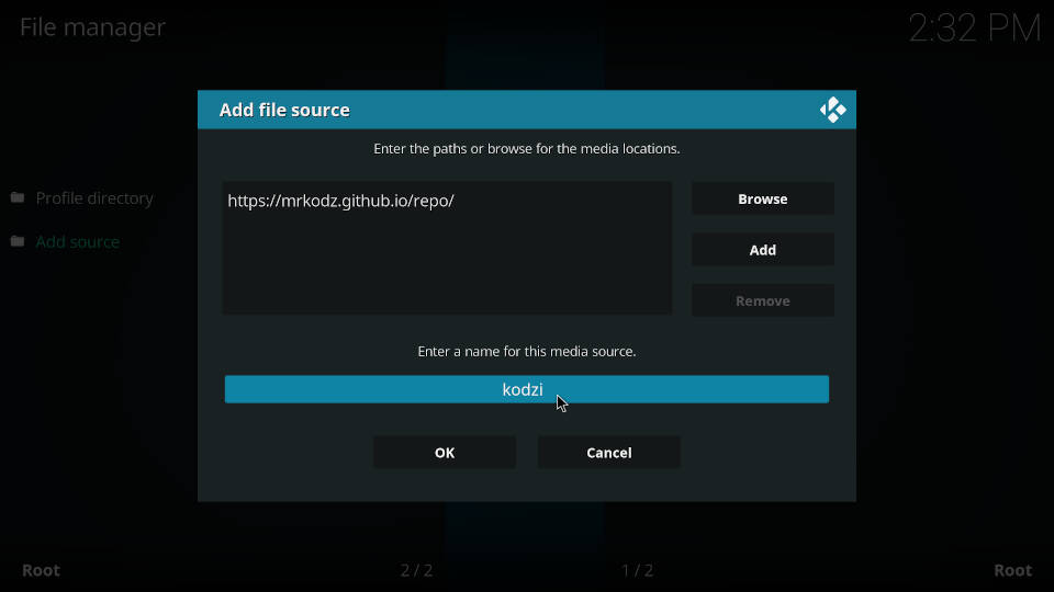 How to add a source in Kodi file manager - Step 6
