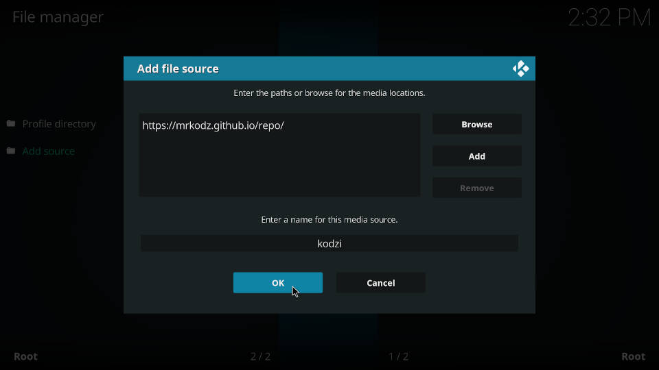 How to add a source in Kodi file manager - Step 7