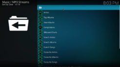 MP3 Streams Kodi Addon Main Menu
