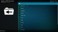 MP3 Streams Kodi Addon Artists Section