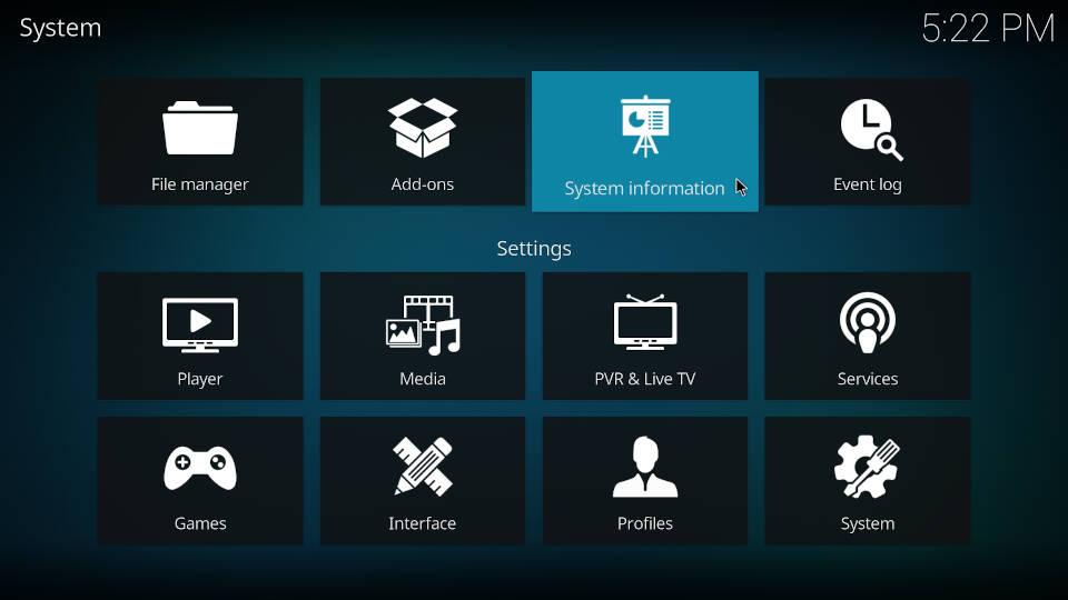 Kodi Settings - Click on System information