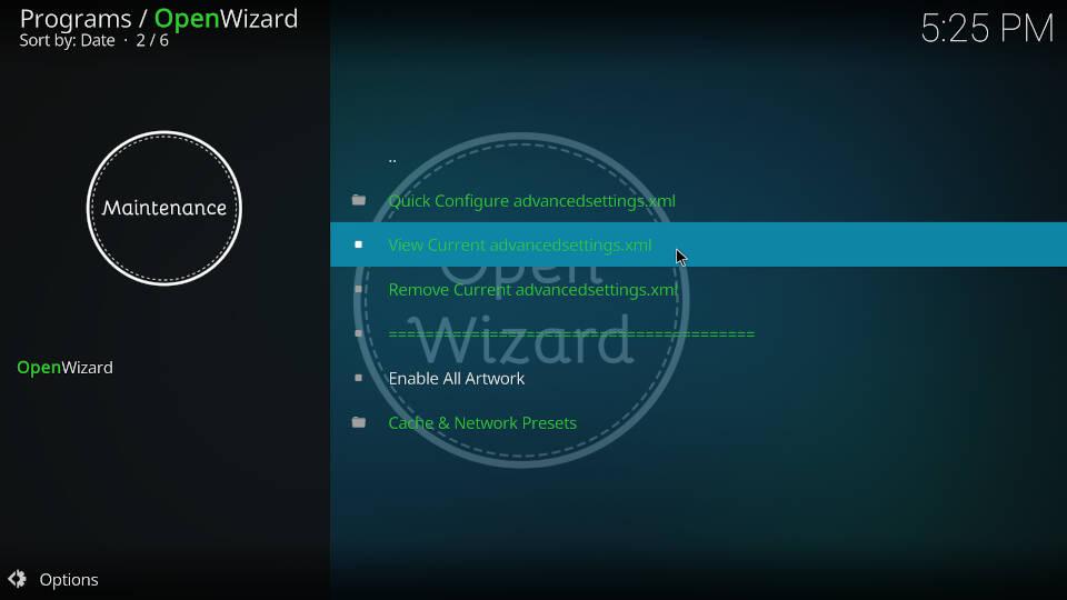 Fix Kodi Buffering with the Open Wizard Kodi Addon - Step 8
