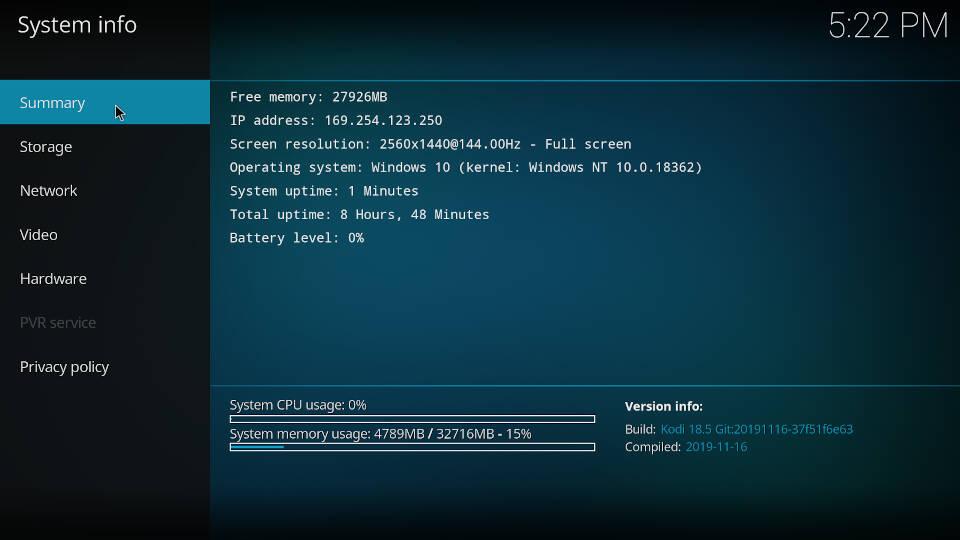 Kodi System Info Summary