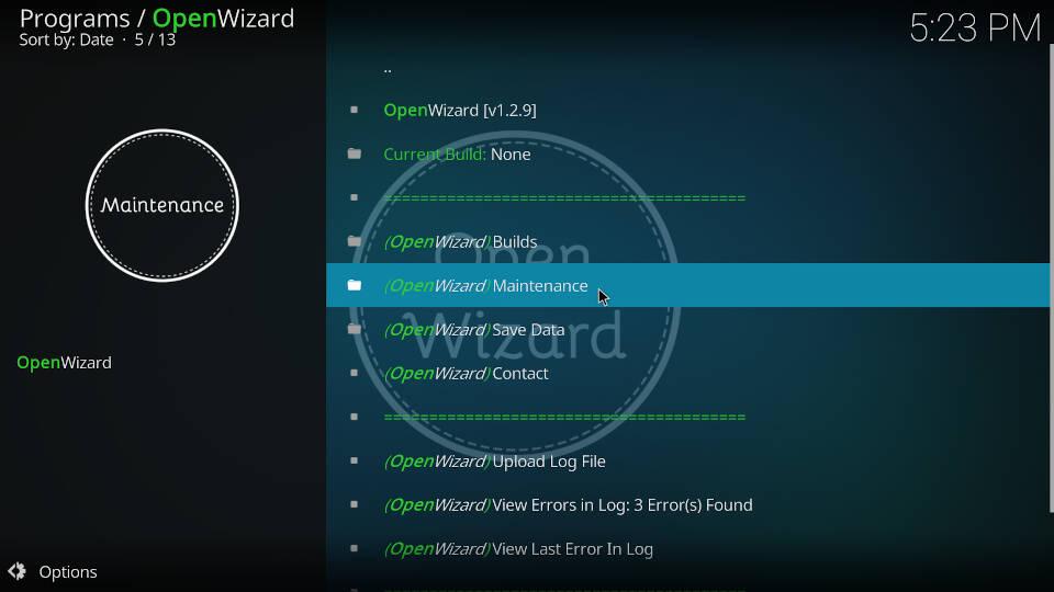 Fix Kodi Buffering with the Open Wizard Kodi Addon - Step 1