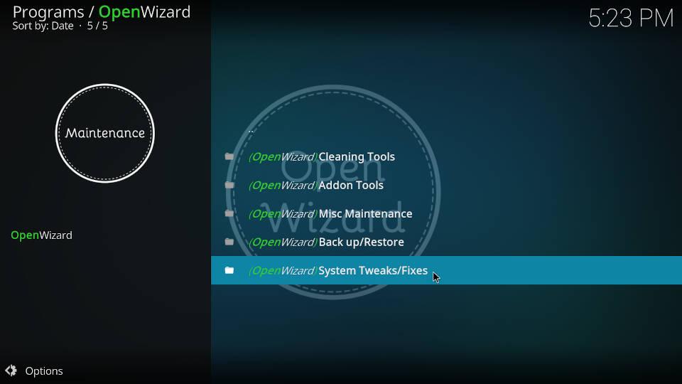 Fix Kodi Buffering with the Open Wizard Kodi Addon - Step 2
