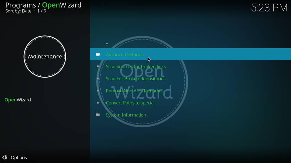Fix Kodi Buffering with the Open Wizard Kodi Addon - Step 3