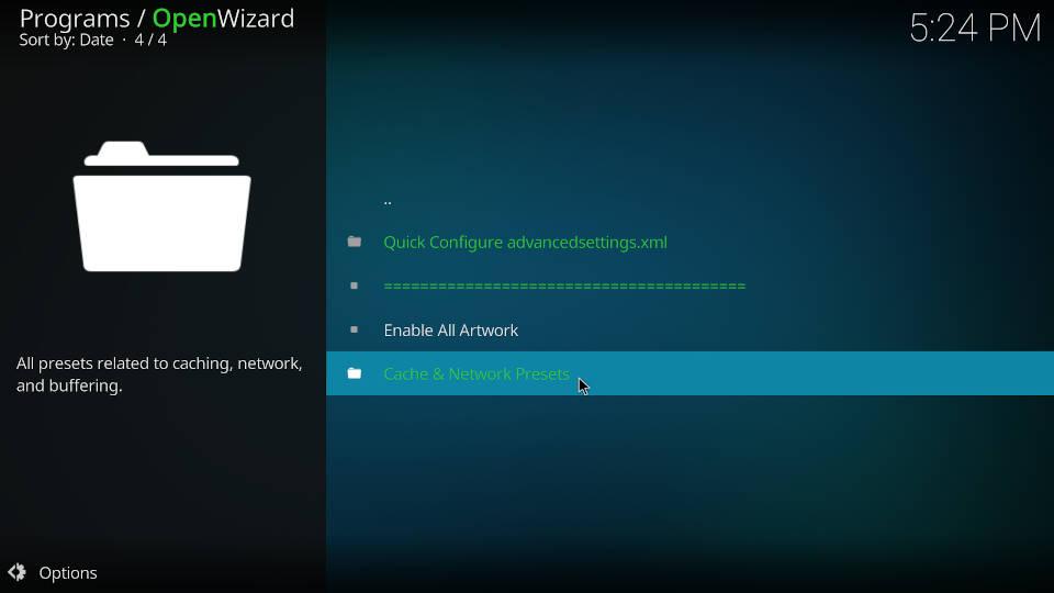 Fix Kodi Buffering with the Open Wizard Kodi Addon - Step 4