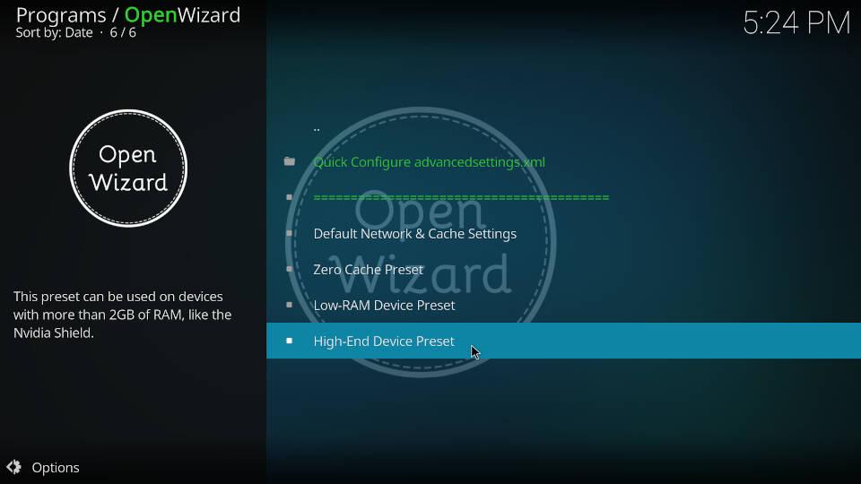 Fix Kodi Buffering with the Open Wizard Kodi Addon - Step 5