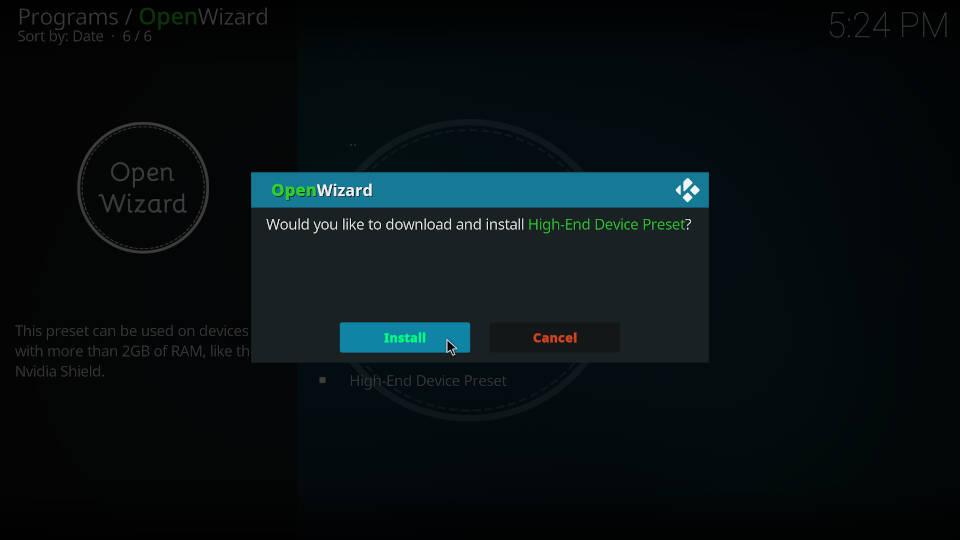 Fix Kodi Buffering with the Open Wizard Kodi Addon - Step 6
