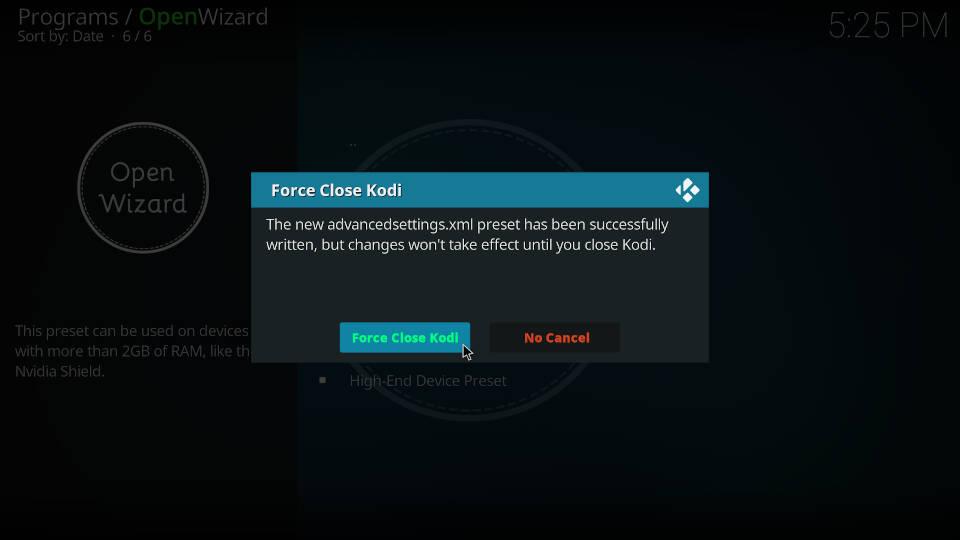 Fix Kodi Buffering with the Open Wizard Kodi Addon - Step 7