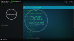 Open Wizard Kodi Addon Cleaning Tools Section