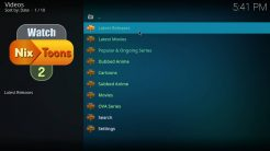 WatchNixtoons2 Kodi Addon Main Menu