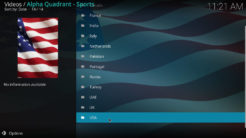 Alpha Quadrant Kodi Addon Sports Channels By Country Section