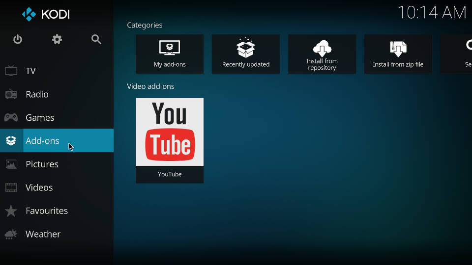 Enable InputStream Adaptive and RTMP Input in Kodi - Step 1
