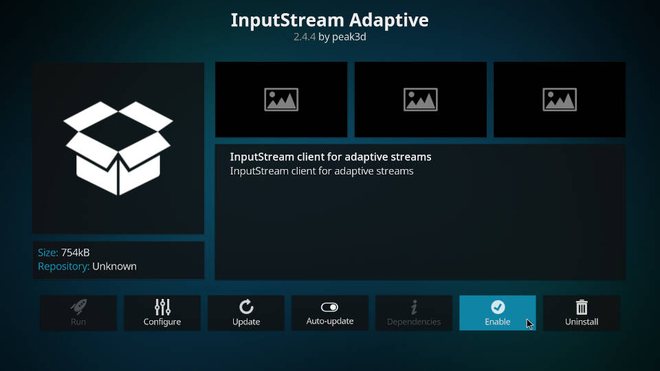 Enable InputStream Adaptive and RTMP Input in Kodi - Step 7