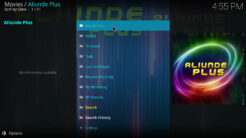 Aliunde Plus Kodi Addon Main Menu