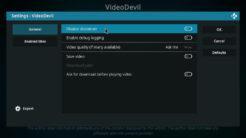 VideoDevil Kodi Addon Settings 1