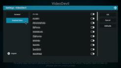 VideoDevil Kodi Addon Settings 2