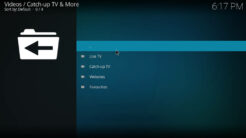Catch-up TV & More Kodi Addon Main Menu
