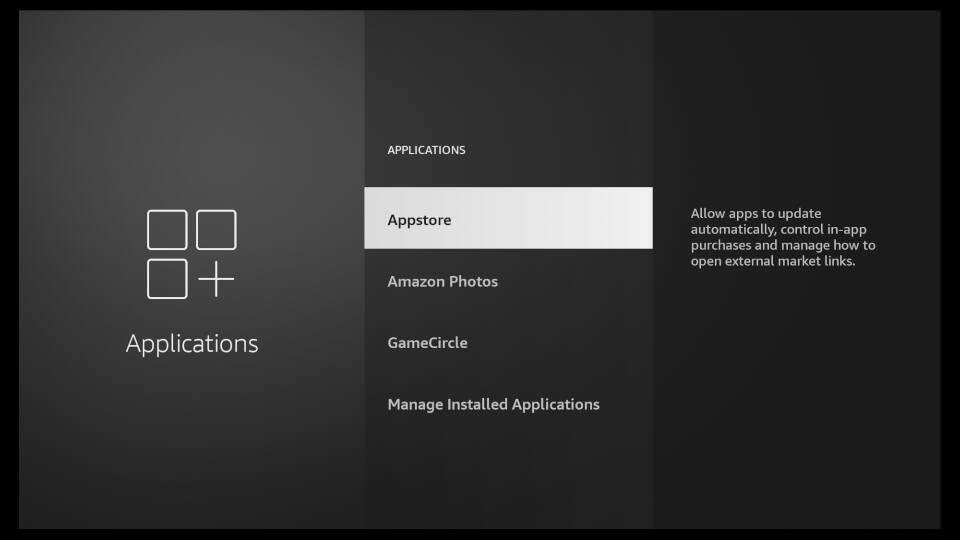 Fire TV Settings - Amazon Appstore Settings 2