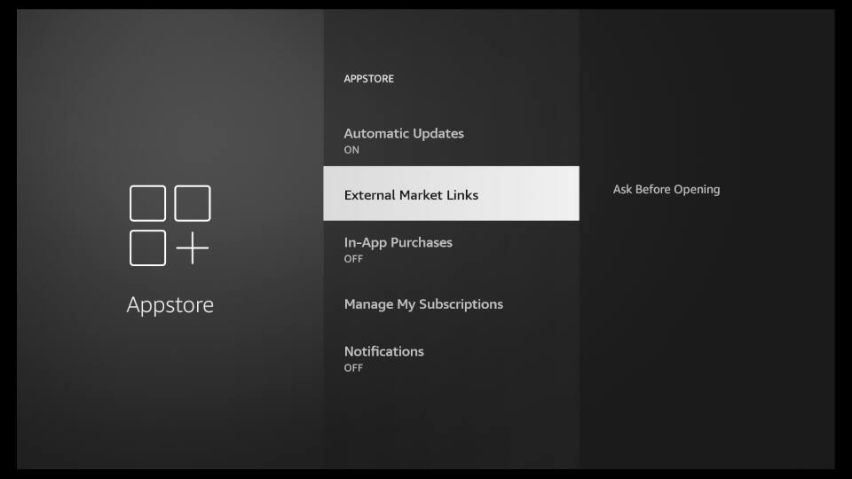 Fire TV Settings - Amazon Appstore Settings 3