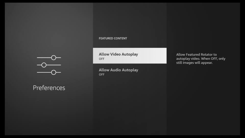 Fire TV Settings - Featured Content & Autoplay 3