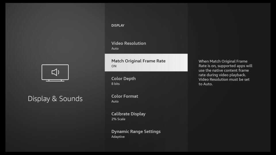 Fire TV Display & Sounds Settings 3