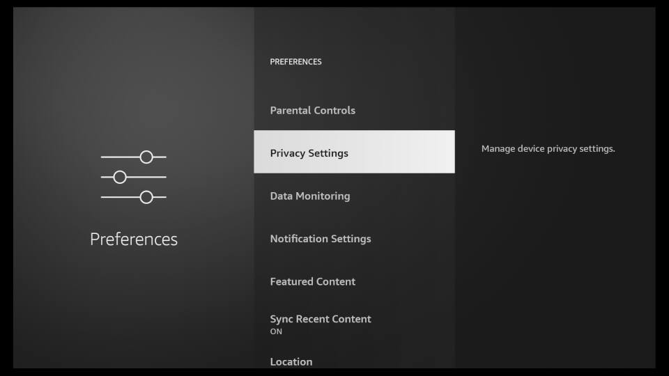 Fire TV Settings - Privacy Settings and Disable Data Monitoring 2