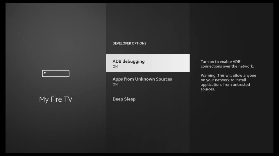 Fire TV Settings - Enable Apps from Unknown Sources 3