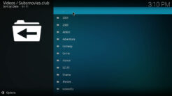 Subsmovies Club Kodi Addon Categories Section