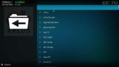 ACME LiveNet Kodi Addon Entertainment Section