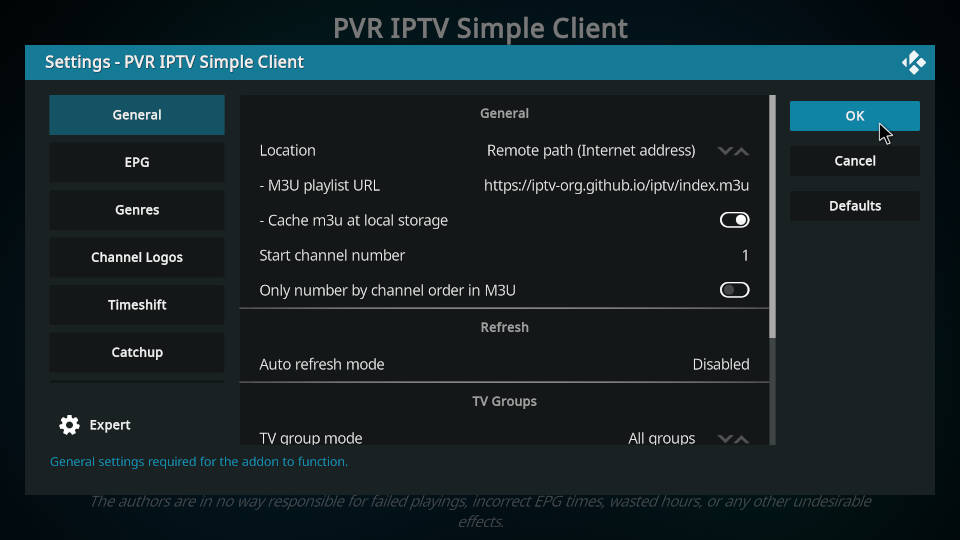 PVR IPTV Simple Client - How to Configure Channels and EPG - Step 5