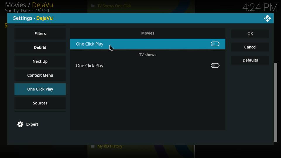 DejaVu Kodi Addon Settings One Click Play