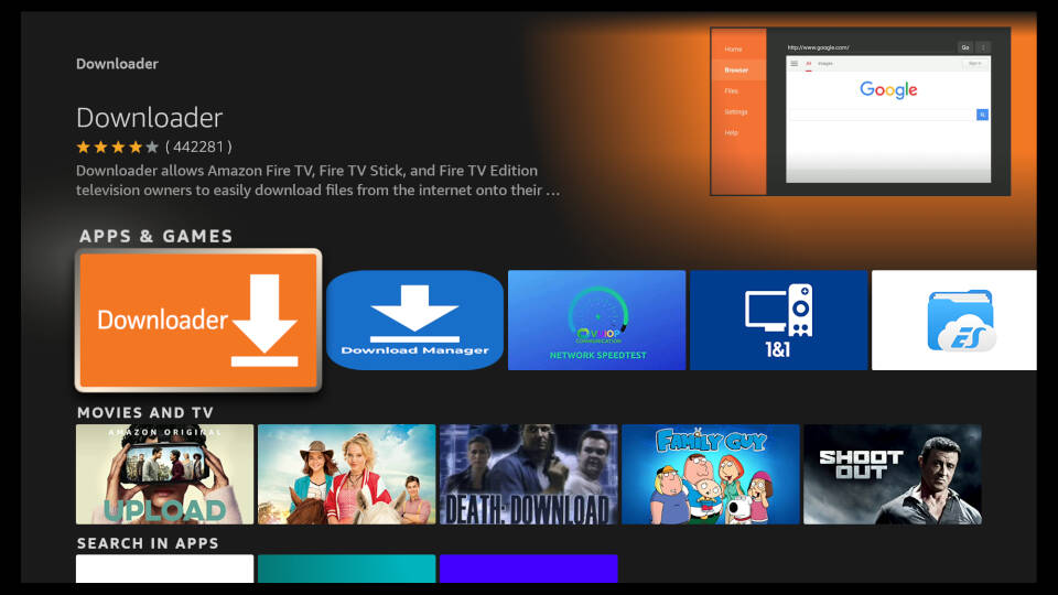 How to install Downloader App on Fire TV - Step 3