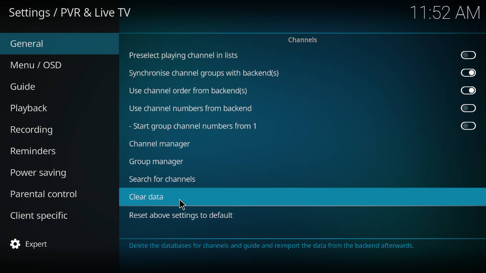 PVR IPTV Simple Client - Reload Channels and EPG - Step 3