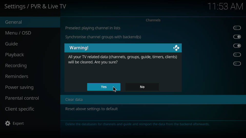 PVR IPTV Simple Client - Reload Channels and EPG - Step 4