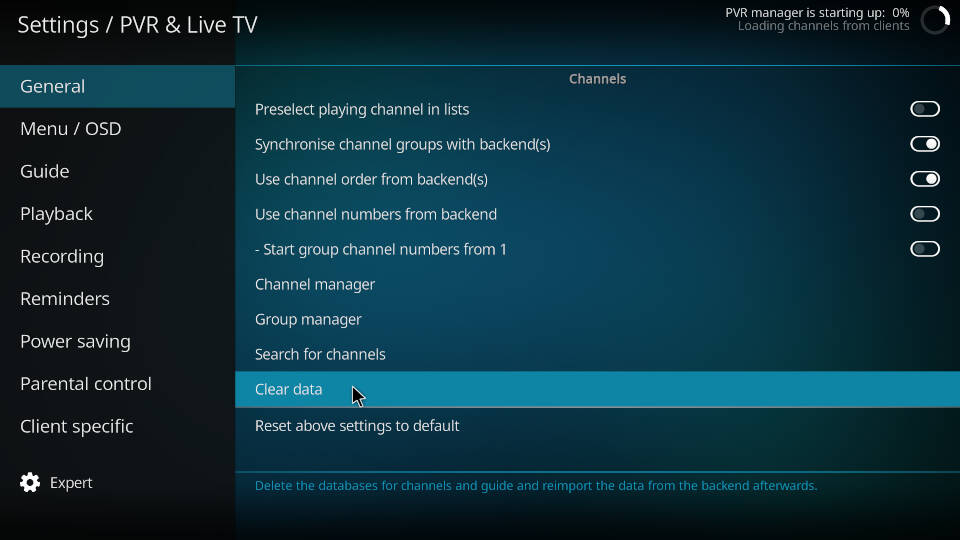 PVR IPTV Simple Client - Reload Channels and EPG - Step 5