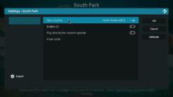 South Park Kodi Addon Settings