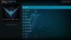 Nightwing Kodi Addon Main Menu