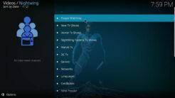 Nightwing Kodi Addon TV Shows Section