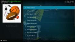 Project Mayhem Kodi Addon US Sports Channels Section