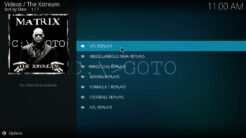 The Xstream Kodi Addon Sports Replays Section